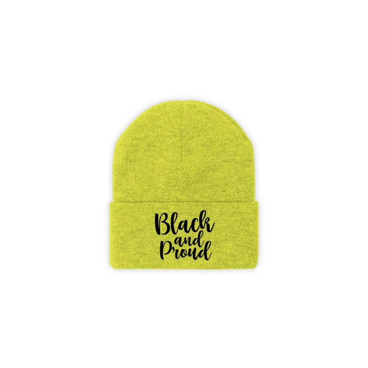 Afrocentric BLACK AND PROUD Knit Beanie, Neon Yellow / One size