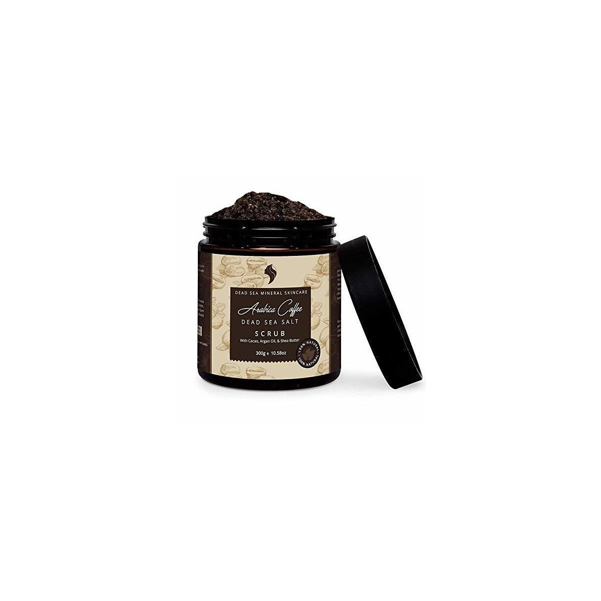 Natural and Organic Coffee Scrub with Dead Sea Salt, Coconut Oil and Shea Butter - Face Scrub & Exfoliating Body Scrub. Best for Acne Treatment, Cellulite, Stretch Marks and Varicose Veins
