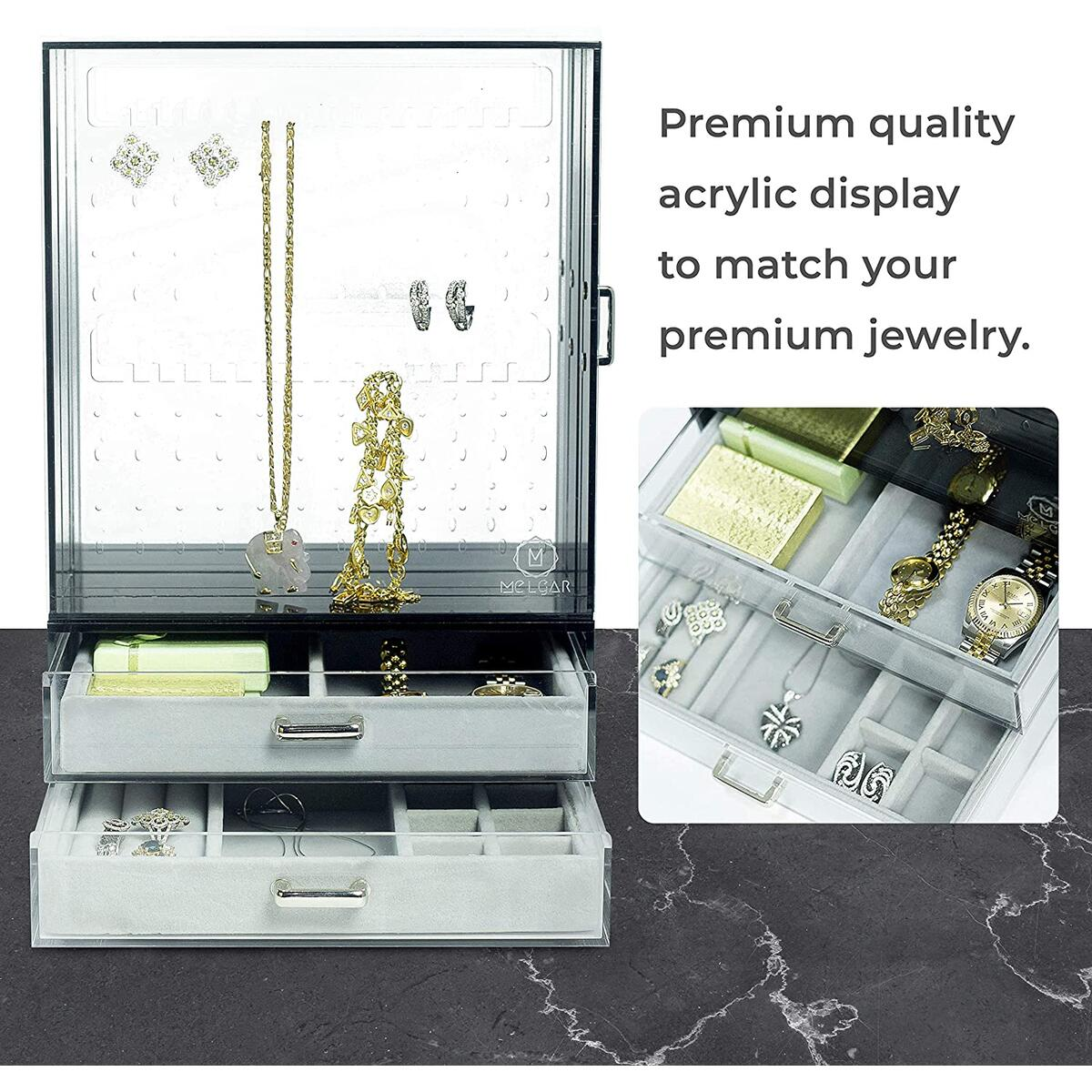 Melgar King Premium Earring Holder and Jewelry Organizer - Jewelry Storage Display Stand with 3 Vertical and 2 Bottom Drawers | Great for Hanging Short Necklace, accessories | Clear Acrylic | Black