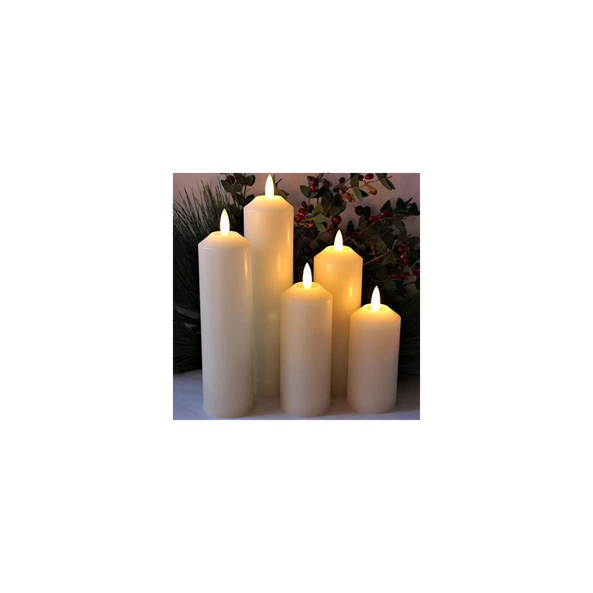 LED Lytes Timer Flameless Candles, 5 Ivory Wax Narrow Width Battery Candle Set, Realistic LED Candles Flickering 3D Flame and Wick with 6 Hour Rotating Timers