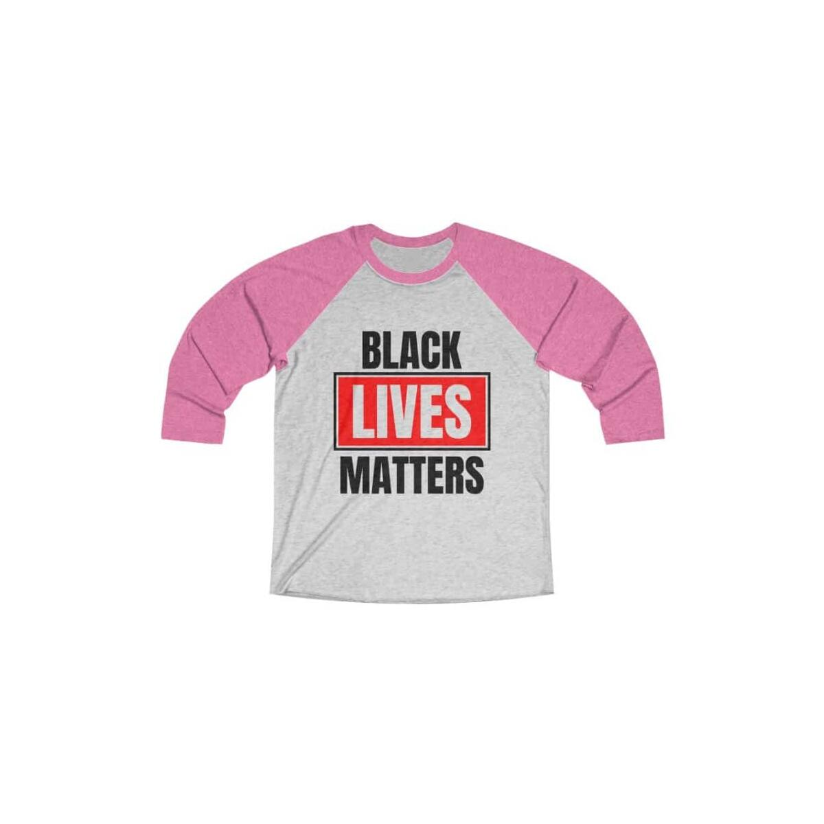Afrocentric Black Lives Matters Tri-Blend Raglan Tee, Vintage Pink / Heather White / M
