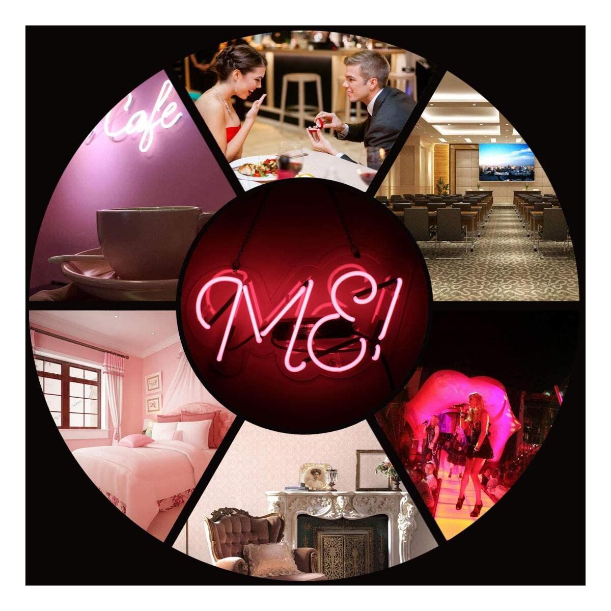 ME Neon Sign Handmade Glass 3D Visual Effect Pink Neon Light 14 x 6 Inch Plug-in Novelty Night Light Hanging Decorative Sign for Girls Bedroom Dormitory Home Club Wall Office Ball Party Love Gift