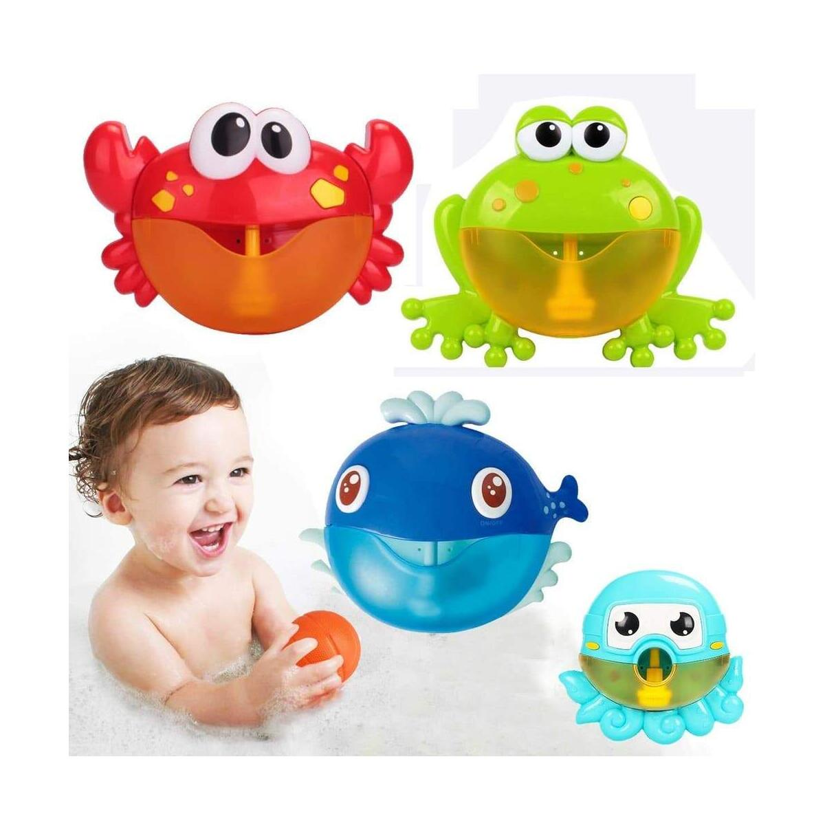 Red Plastic Crab Bubble Machine Automated Spout Music Bubble Maker Baby Bath Shower Fun Toy