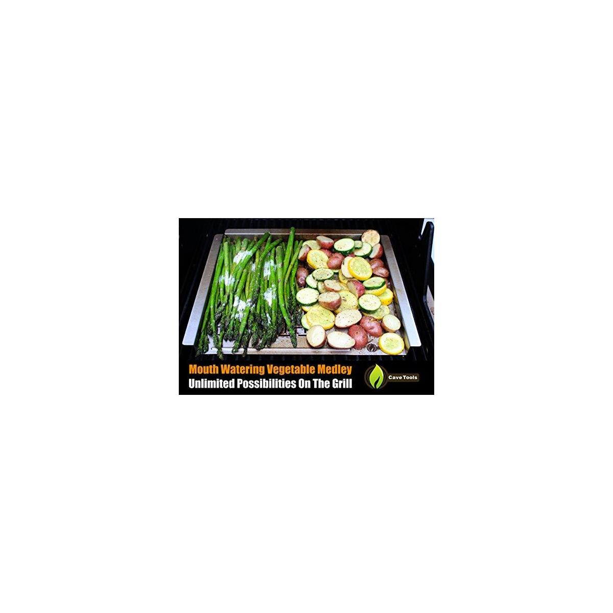 Cave Tools BBQ Grill Pan Mat - Stainless Steel Grilling Tray Grid for Cooking Meat & Griddle Side for Barbecue Breakfast or Vegetables - Topper Basket Accessories for Gas Charcoal Oven or Smokers