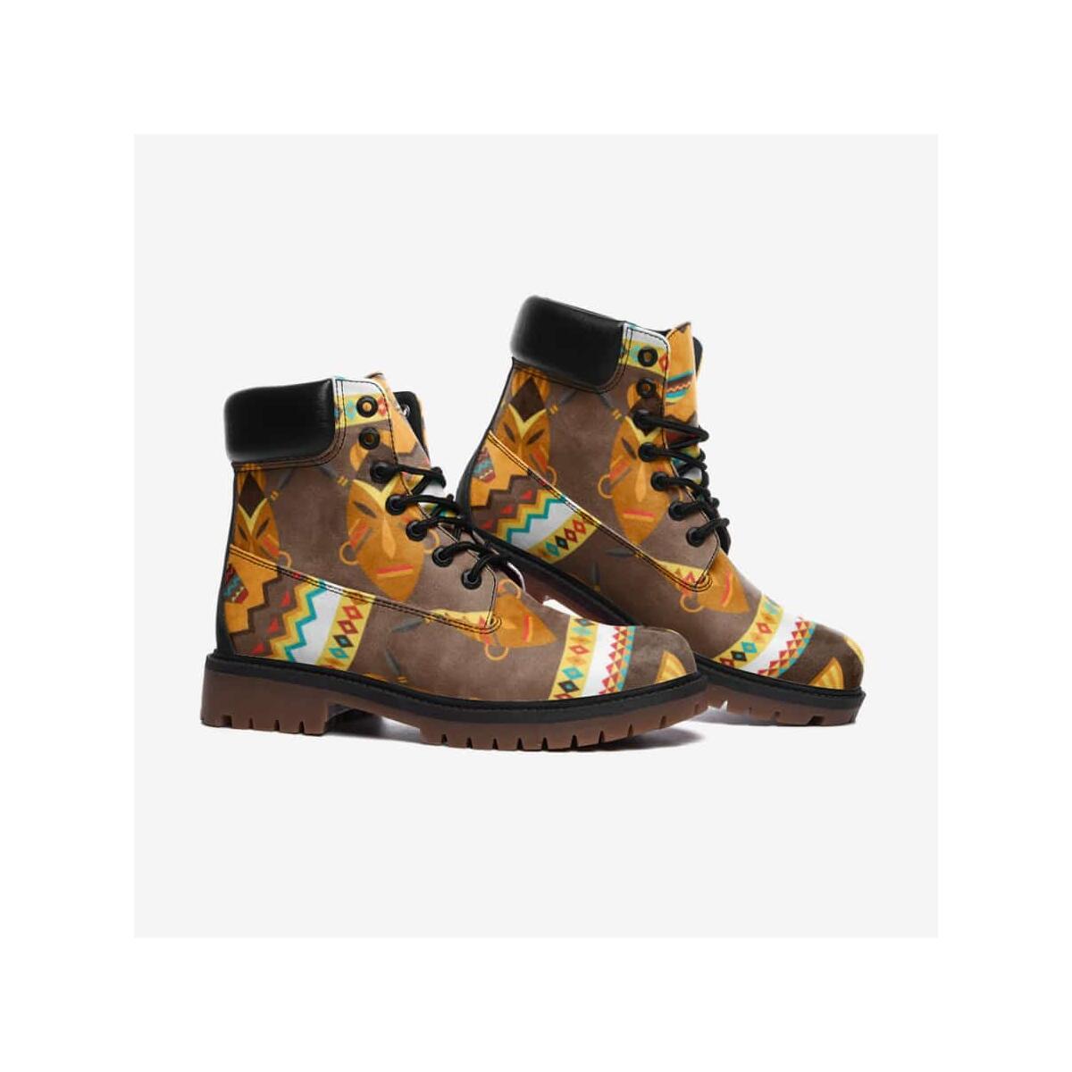 African Djembe Masks Leather Lightweight boots TB, 6 Women / Black