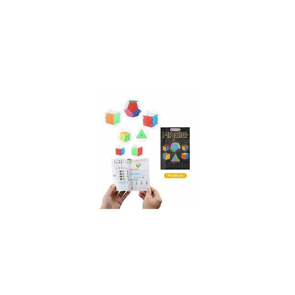 STEAM Life Educational Speed Cube Set 8 Pack Magic Cube | Includes Speed Cubes 3x3, 2x2 Speed Cube, Pyramid Cube, Plus Bonus Puzzle Cube Puzzles Bundle