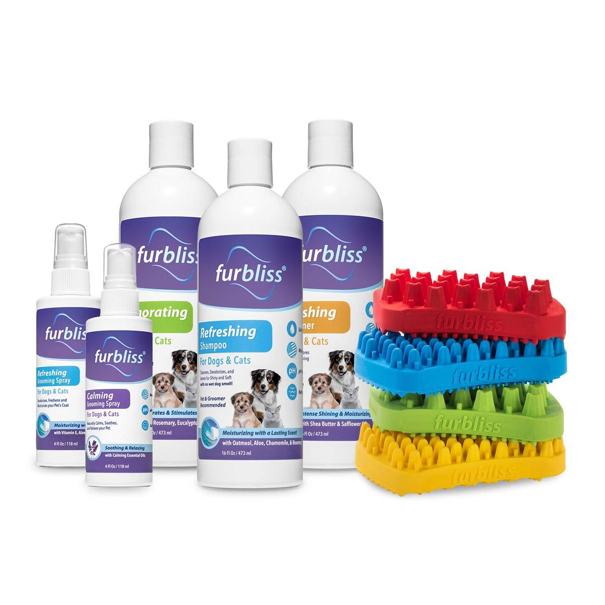 Furbliss Dog Shampoo with Essential Oils, Leaves No Wet Dog Smell, Cleans and Deodorizers Coat, Tear Free Smelly Dog Relief Refreshing Scent (16oz)