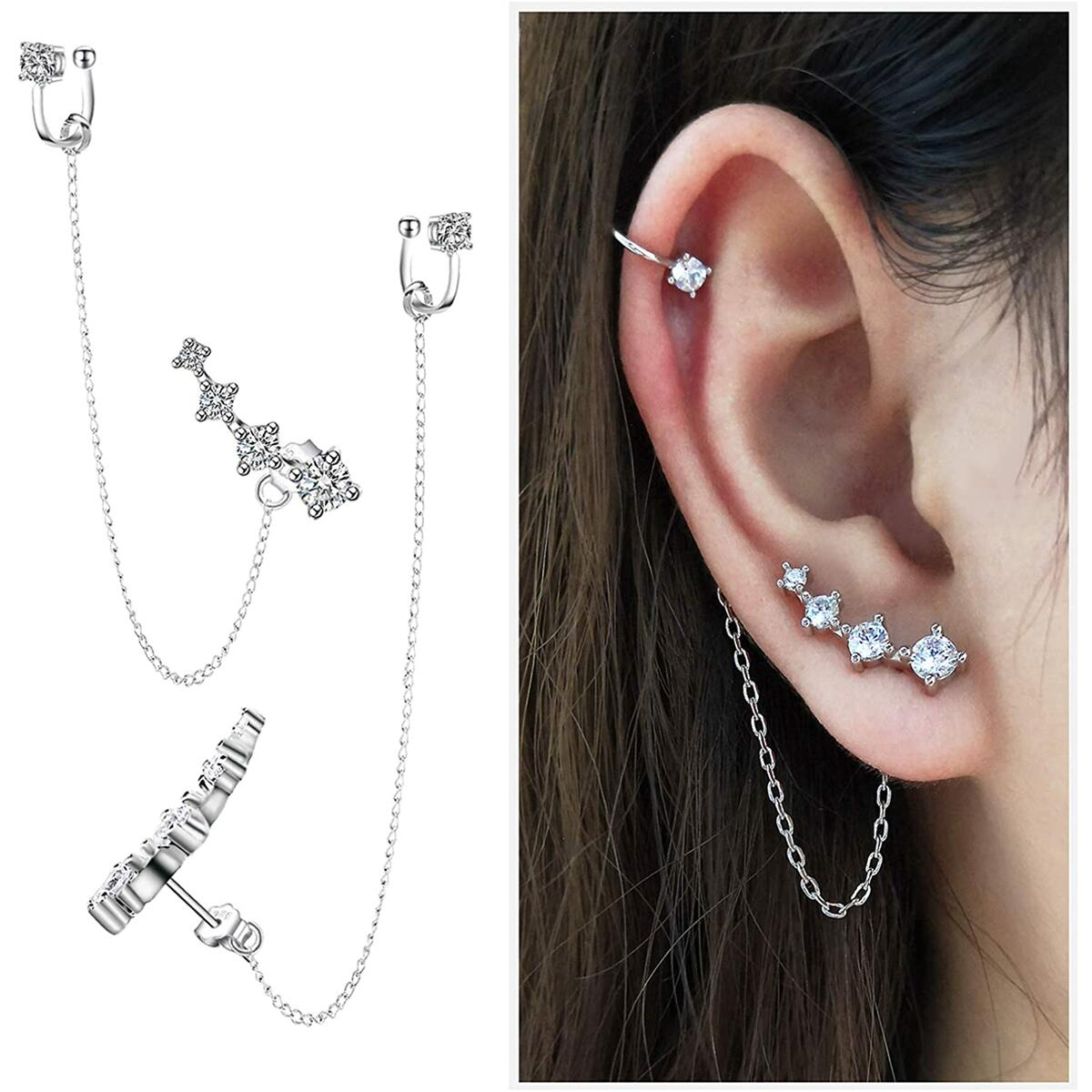 CZ 925 Sterling Silver 14K White Gold Plated Ear Crawler Hypoallergenic 4 Crystals Stud Earring with Chain Threader Earrings for Women