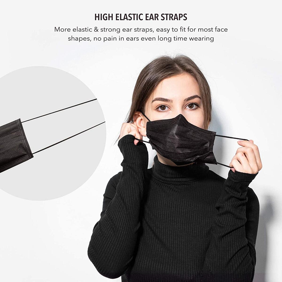 3 Layer Disposable Face Covering for Adults Indoor or Outdoor, 50 Pack (Black)
