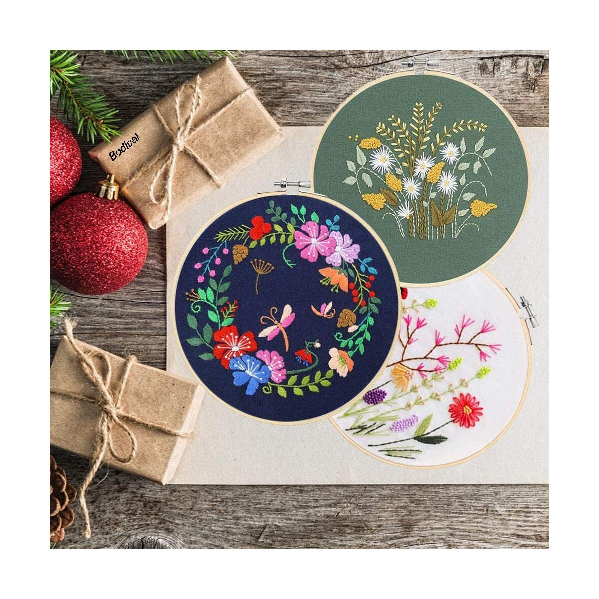 Embroidery Kit for Beginners, Cross Stitch Starter Kits Include 3 Sets Embroidery Fabric Cloth with Pattern, 3 Bamboo Embroidery Hoops, Color Embroidery Floss Threads, Embroidery Needles and Scissors