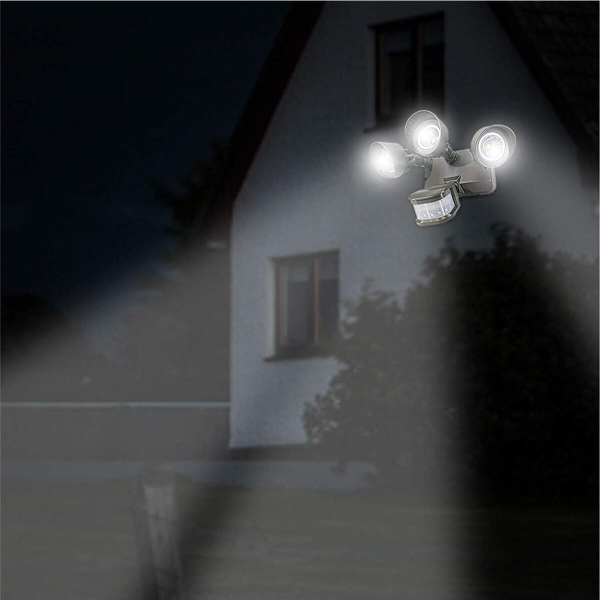 Security Light With Sensor, Adjustable Head, Waterproof and Outdoor Rated - 3 Heads, Bronze - 5000K - COUPON CAN BE USED FOR ALL COLORS