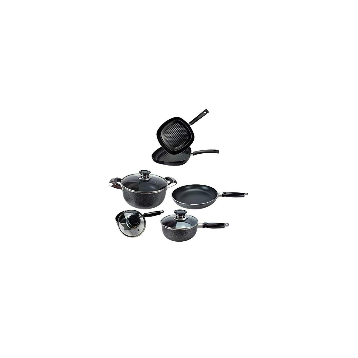 Nonstick Cookware Pots and Pans Set Dishwasher Safe, Black (8 PCS SET)
