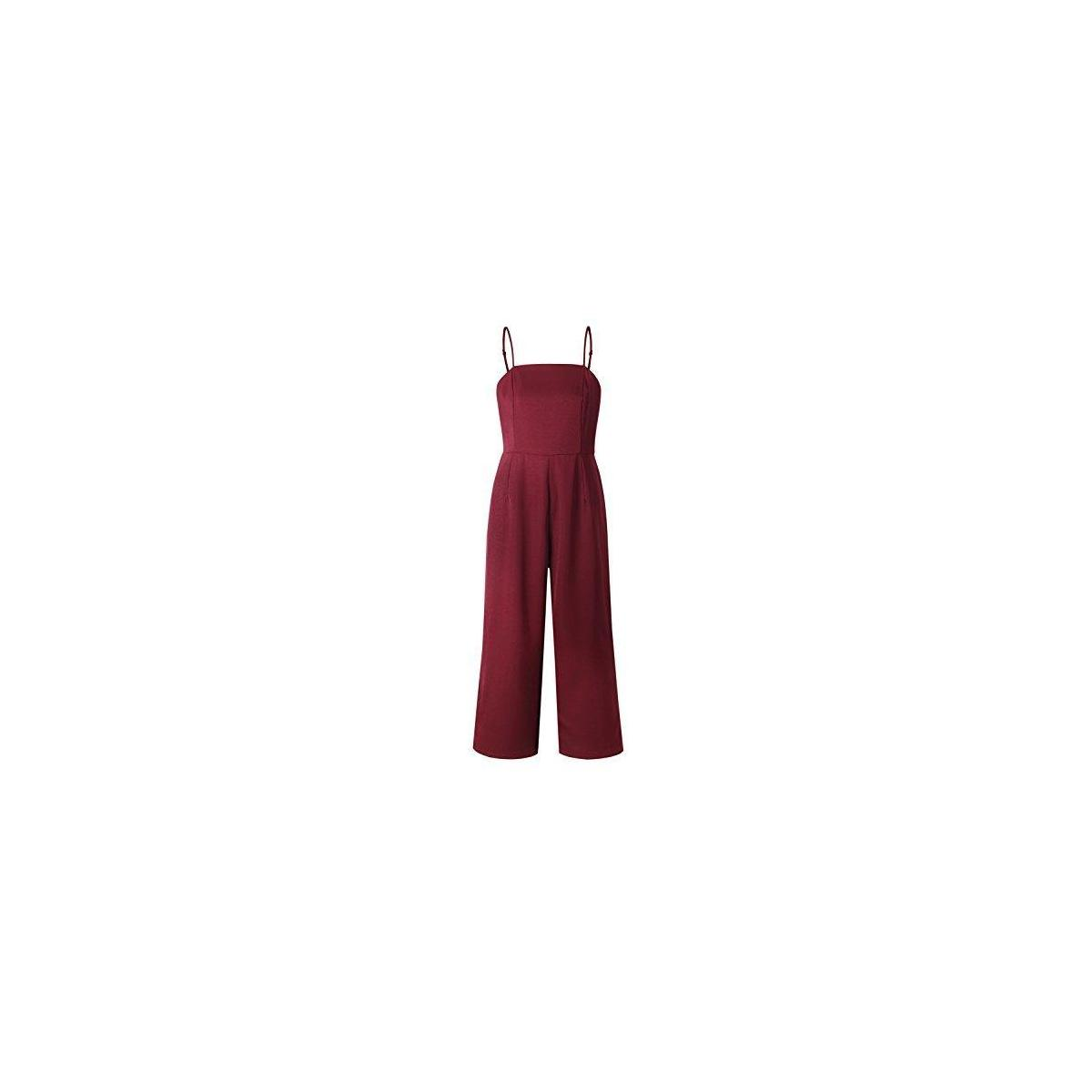 Women's Solid Color Backless Sleeveless Wide Long Pants Jumpsuit Rompers