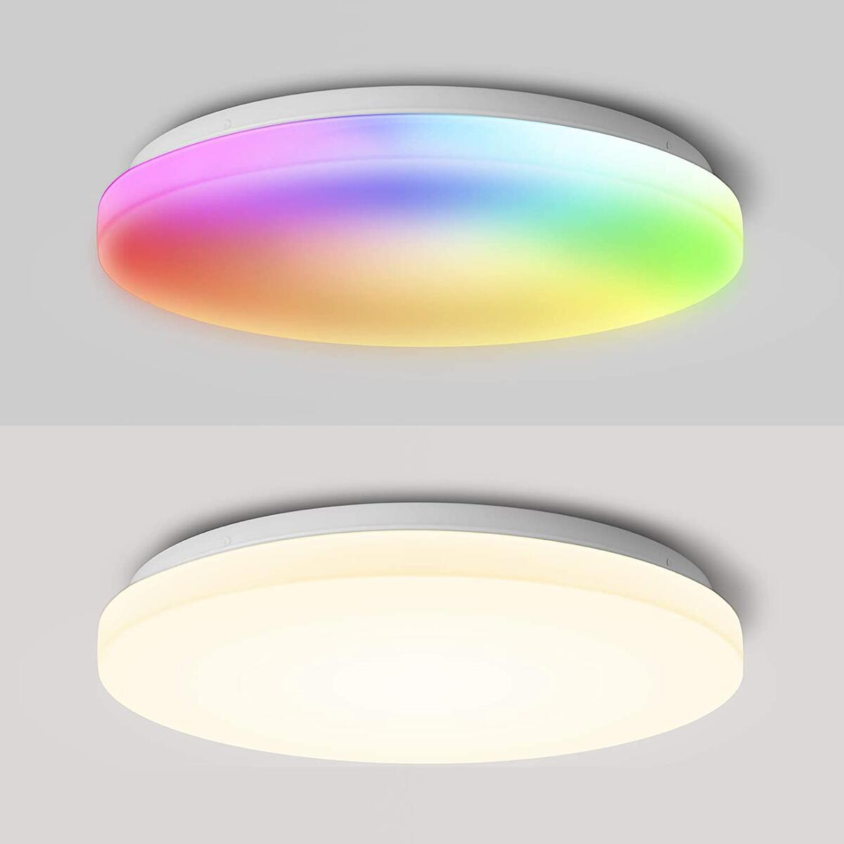 Smart Ceiling Light Flush Mount, Wixann Led WiFi Morden Ceiling Light Fixture Compatible with Alexa Google Home, 2400LM 2700-6500K Ceiling Lamp for Bedroom Living Room Dining Room,16 Inch 24W