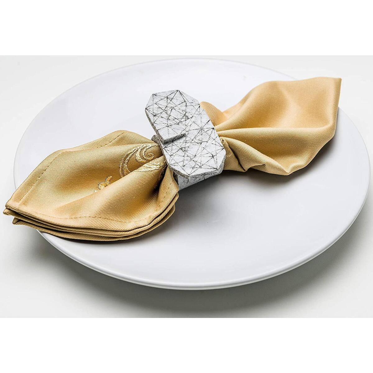 Yashchykov Napkin Ring Set for Wedding (Grey, Felt)