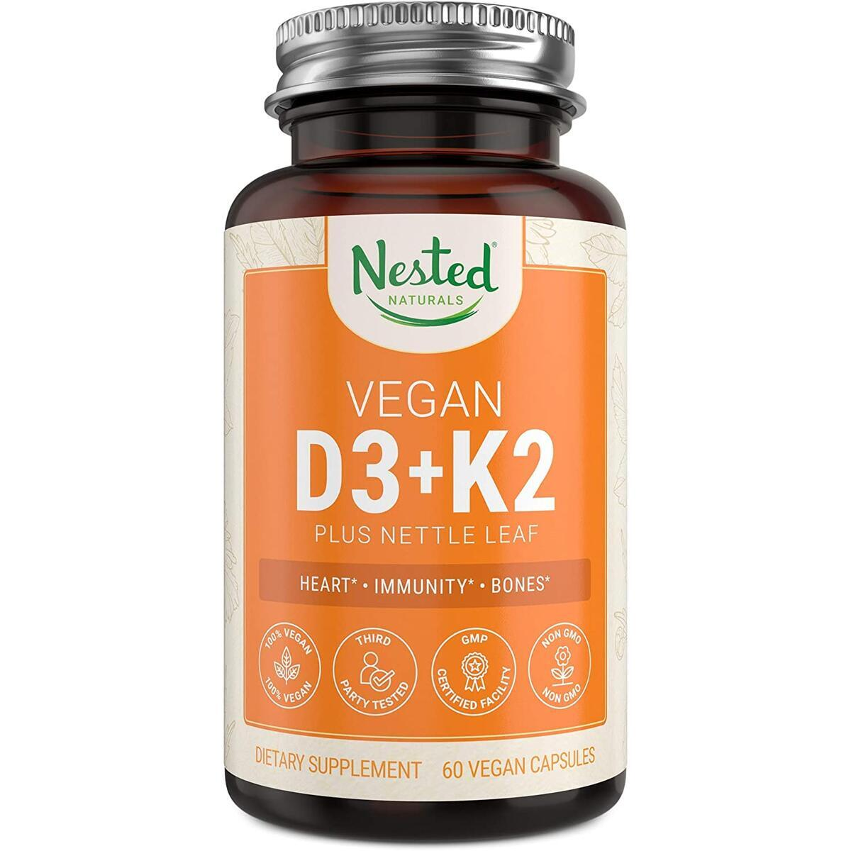 Nested Naturals Vitamin D3+K2 Plus Nettle Leaf Supplement | 5000 IU Vitamin D-3 Made from Chickpeas, with Vitamin K-2 MK7