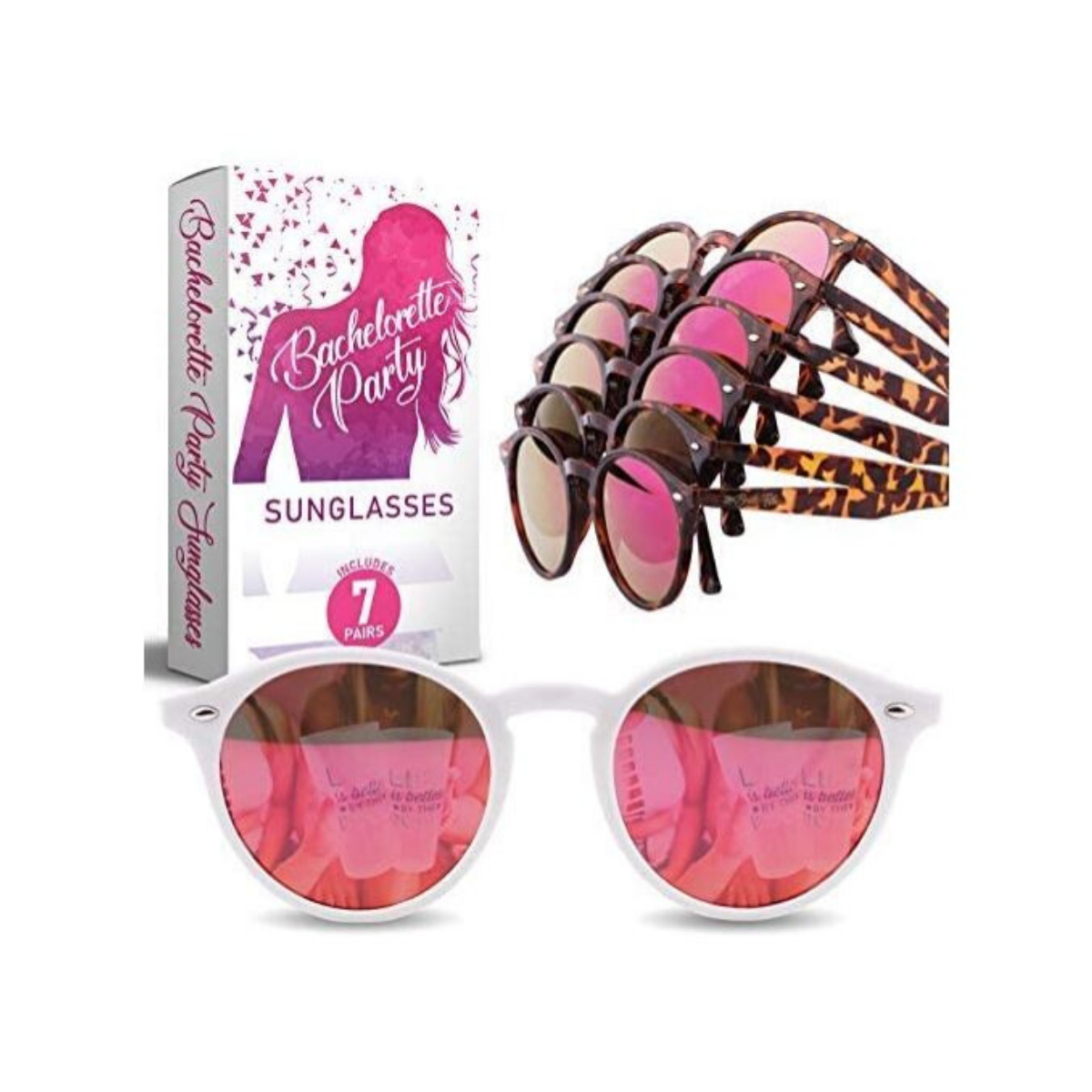 Bachelorette Party Sunglasses for Bride Tribe - 7 Bridal Party Pink Lens Glasses, Bridesmaids Favors, Instagram Bachelorette Party Decorations (7 Pack Set)