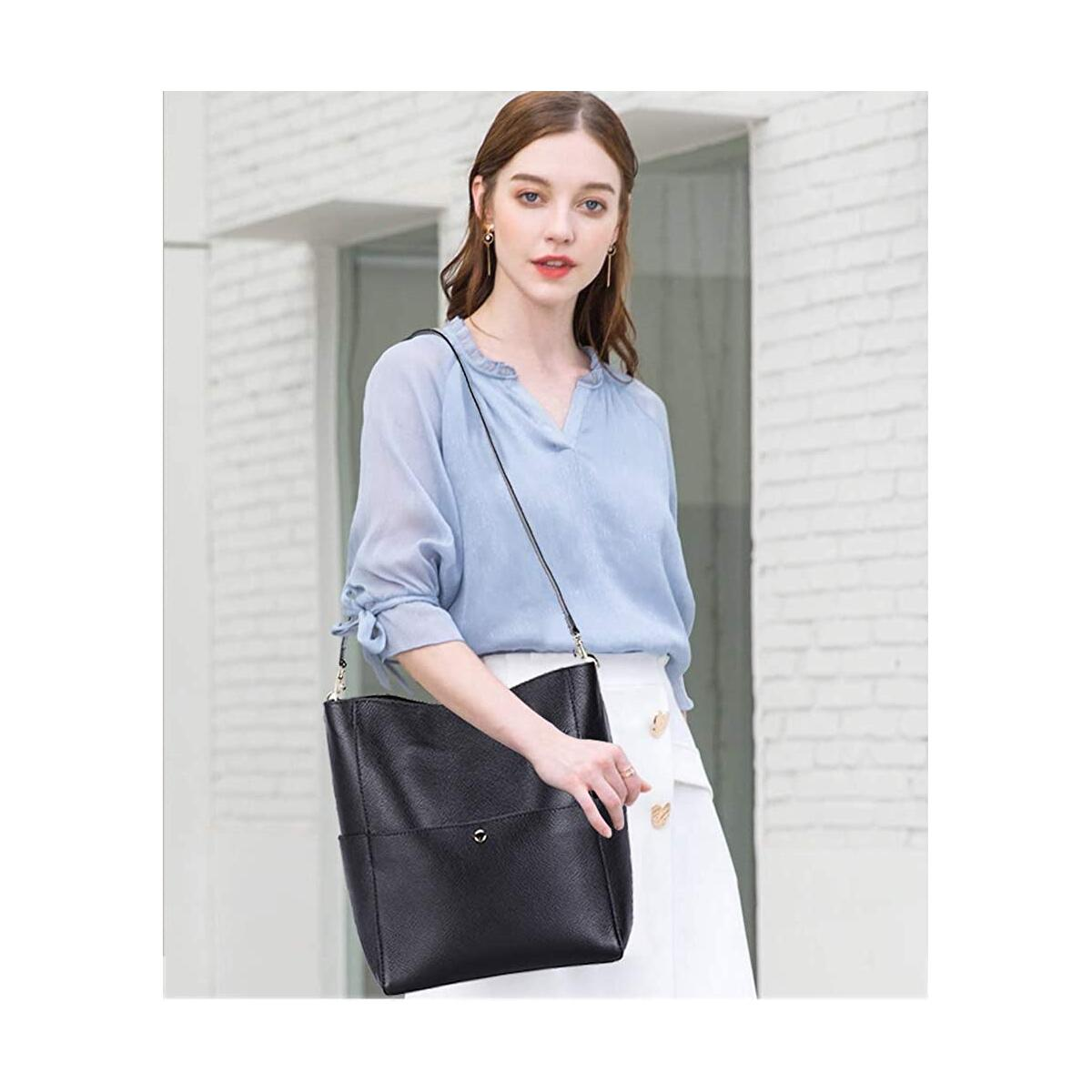 Genuine Leather Bucket Tote Bag for Women Purses and Handbags Hobo Cross Body Bags with Adjustable Strap