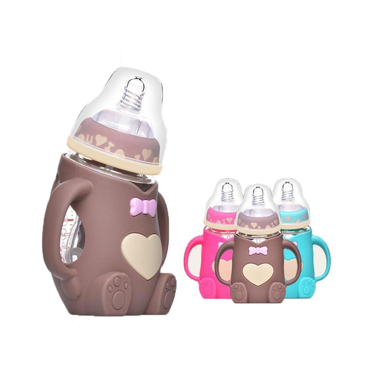 Infant Baby Silicon Crystal Anti-Fall Glass Baby Bottle feeding Glass Bottle Safe Silicone Milk Bottle With Handle