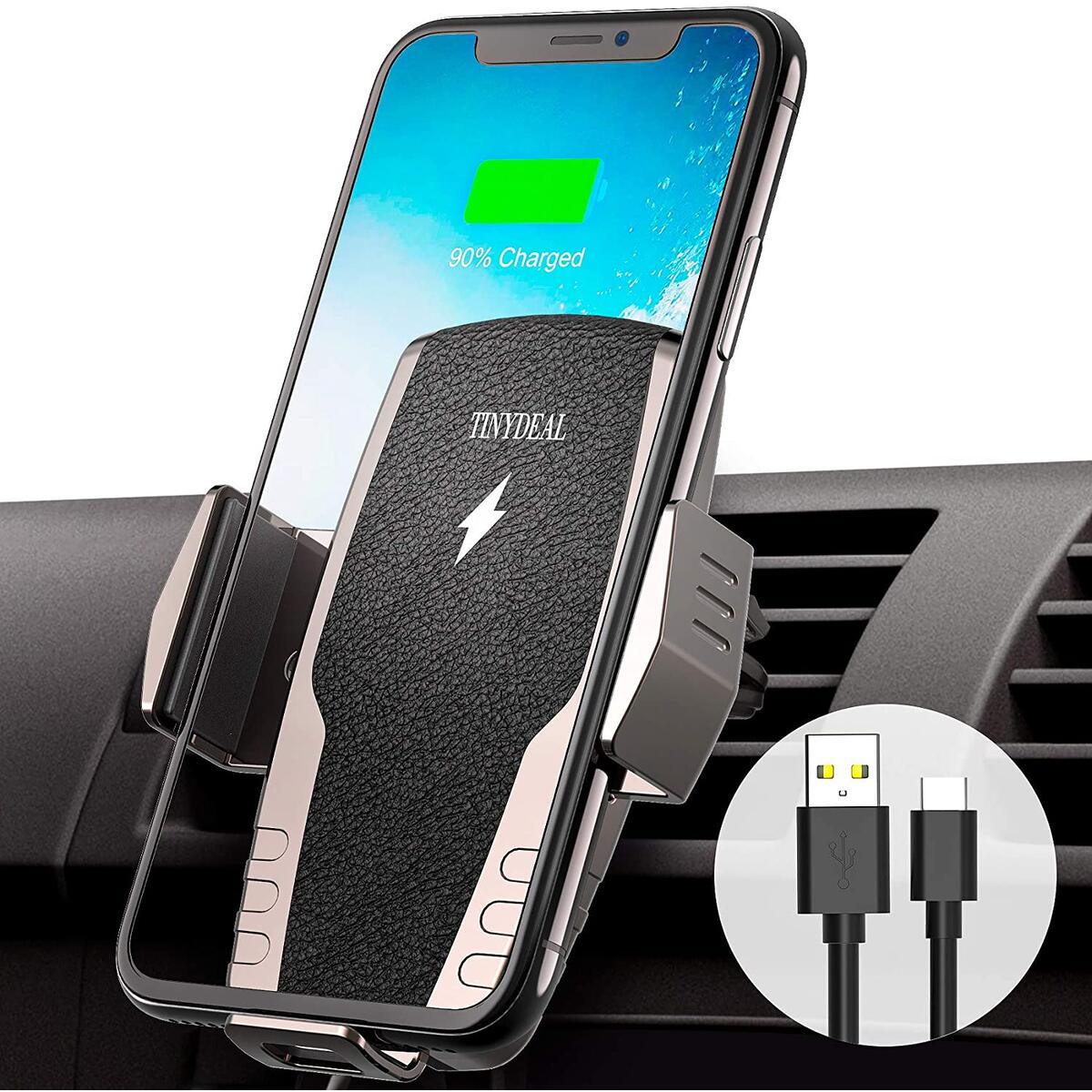 Wireless Car Charger Mount Auto Clamping, TinyDeal Max 15W Qi Fast Charging Air Vent Car Phone Holder Mount for iPhone 11 11 Pro Max Xs MAX/XS/XR/X/8/8+, Samsung S10+ S10 S9+ S9 S8+ S8 Note 9