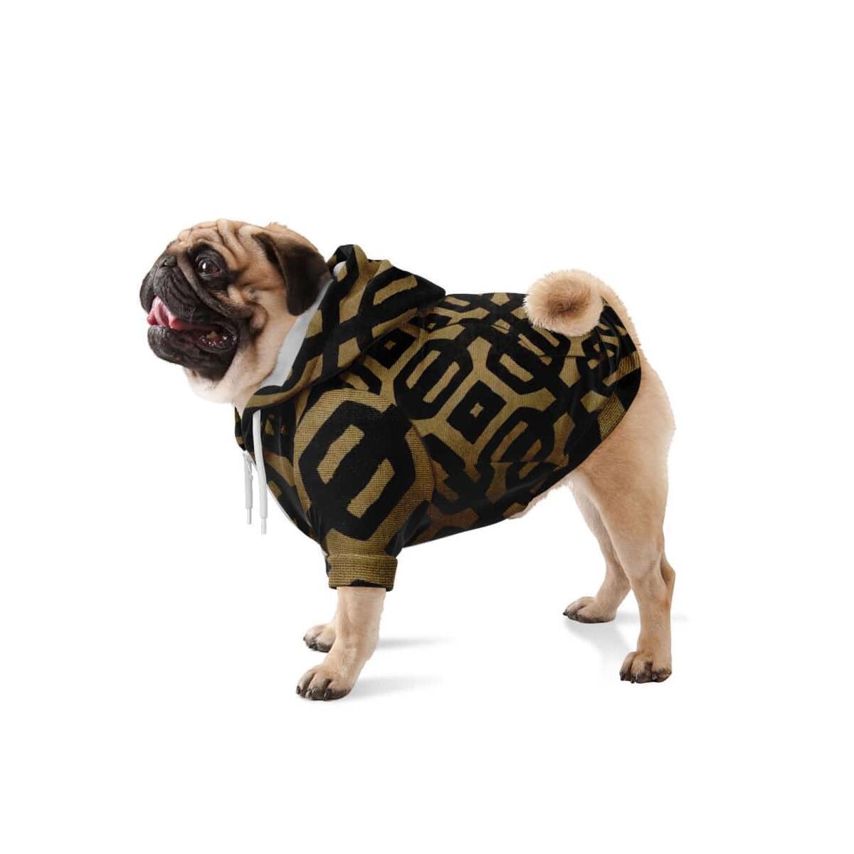 Brown Black Bogolan Dog Zip-Up Hoodie