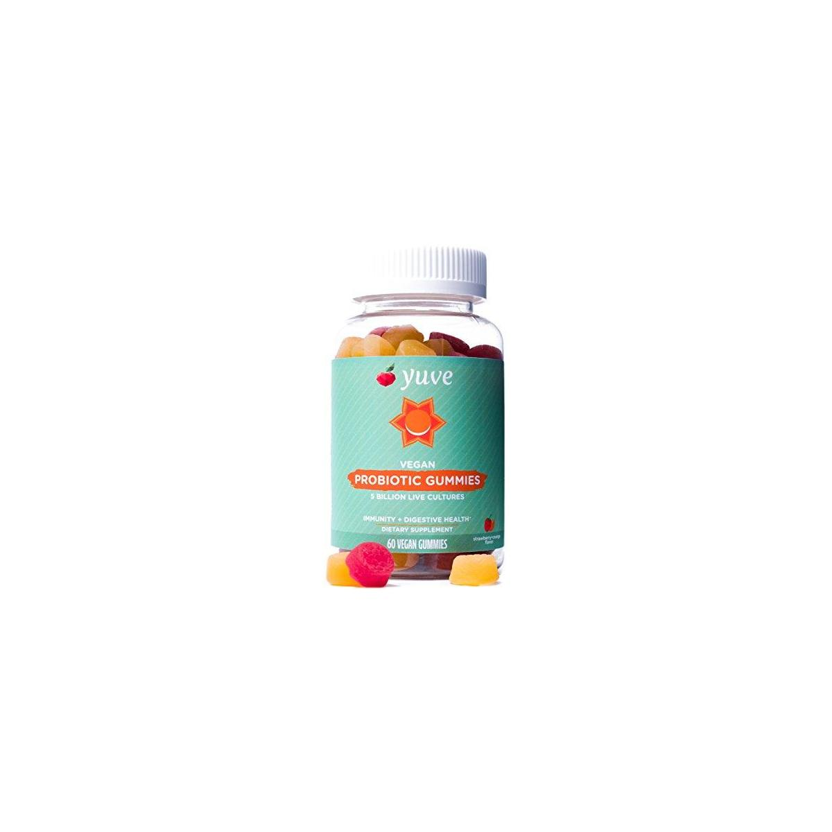 Yuve Vegan Probiotic Sugar-Free Gummies - 5 Billion CFU - Promotes Digestive Health & Immunity - Helps with Constipation, Bloating, Detox, Leaky Gut & Gas Relief - Natural, Non-GMO, Gluten-Free - 60ct