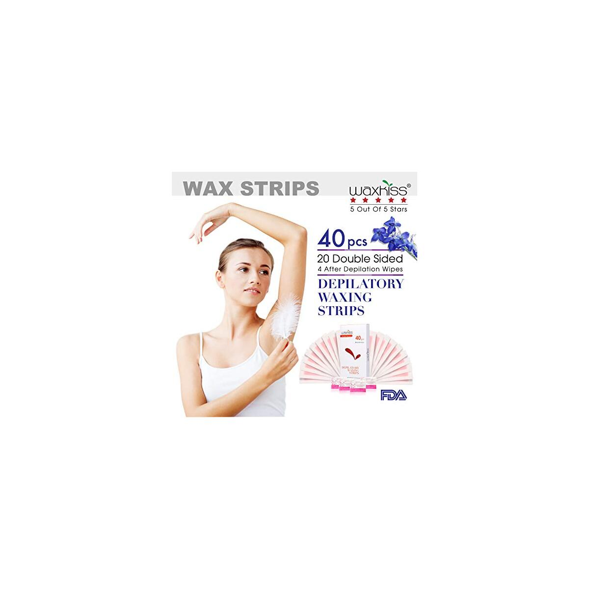 Waxkiss Wax Strips Facial Hair Removal Ready to Use Self Waxing Strips for Woman & Man - 40 Large Strips for Waxing
