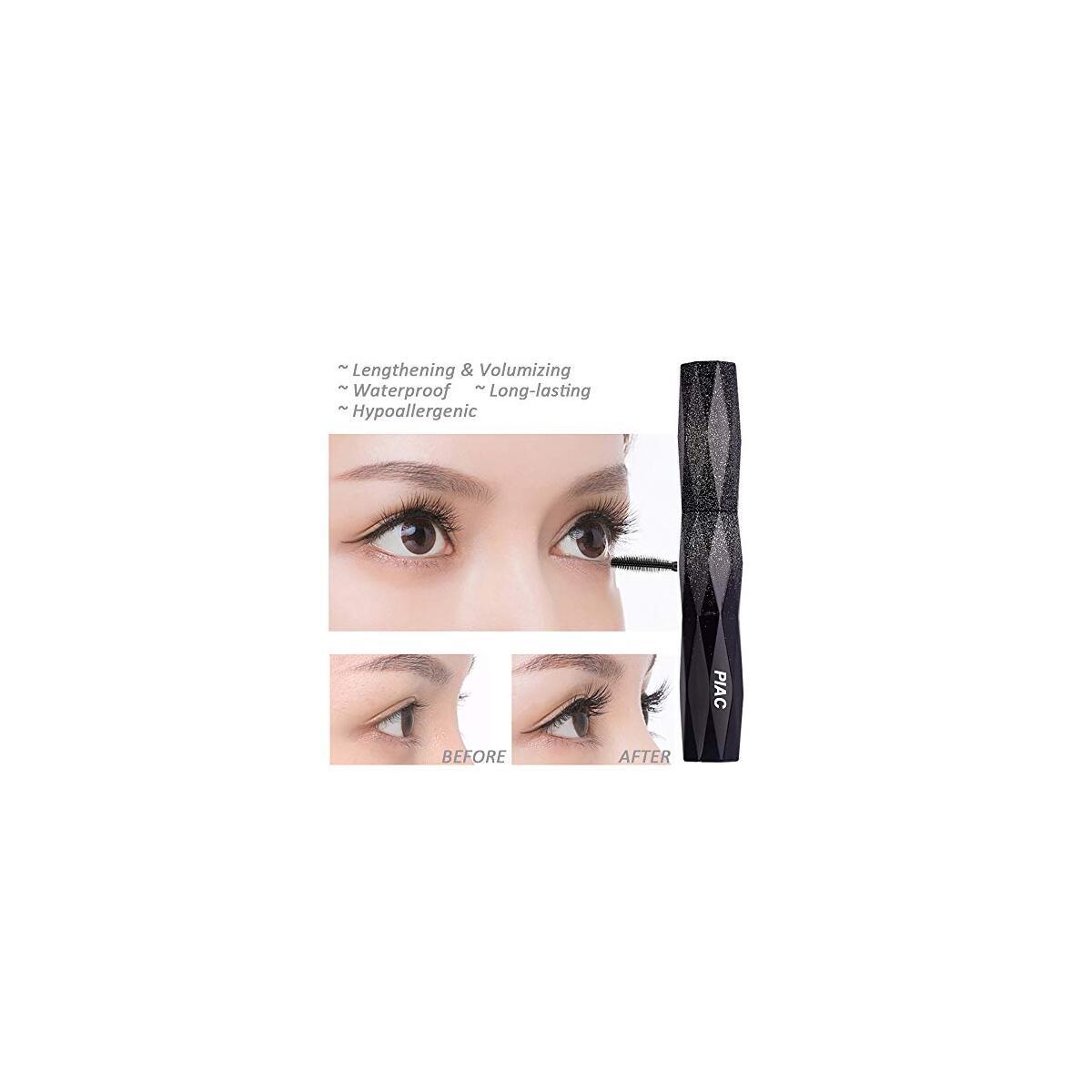 Gypsophila Silk Fiber Lash Mascara with Brush, Lengthening and Thick, Long Lasting, Waterproof & Smudge-Proof Eyelashes