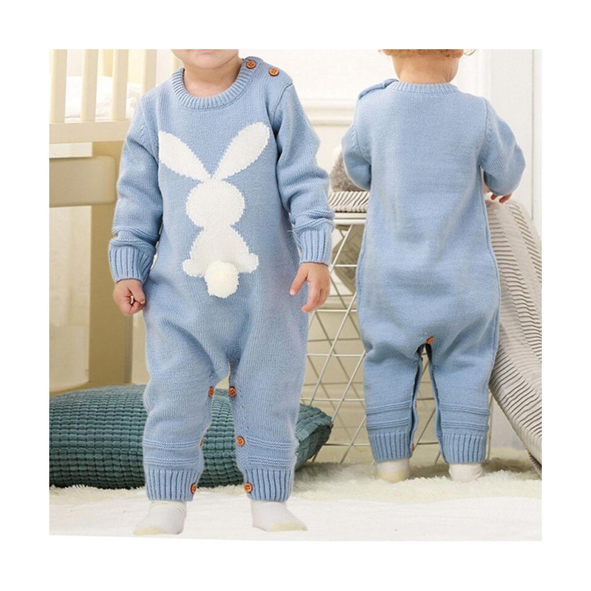 Baby Romper Knit Long Sleeve Jumpsuit for Boys Girls One Piece Overall Infant Baby Clothes