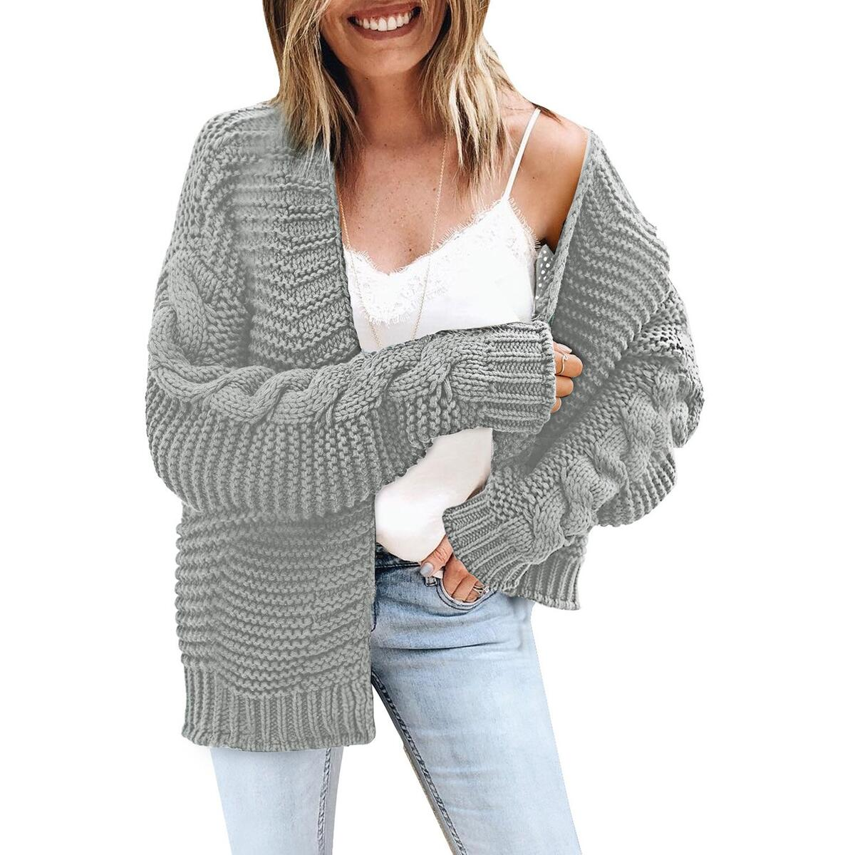 Chunky Knit Open Front Jumper   Preston, Brown / M