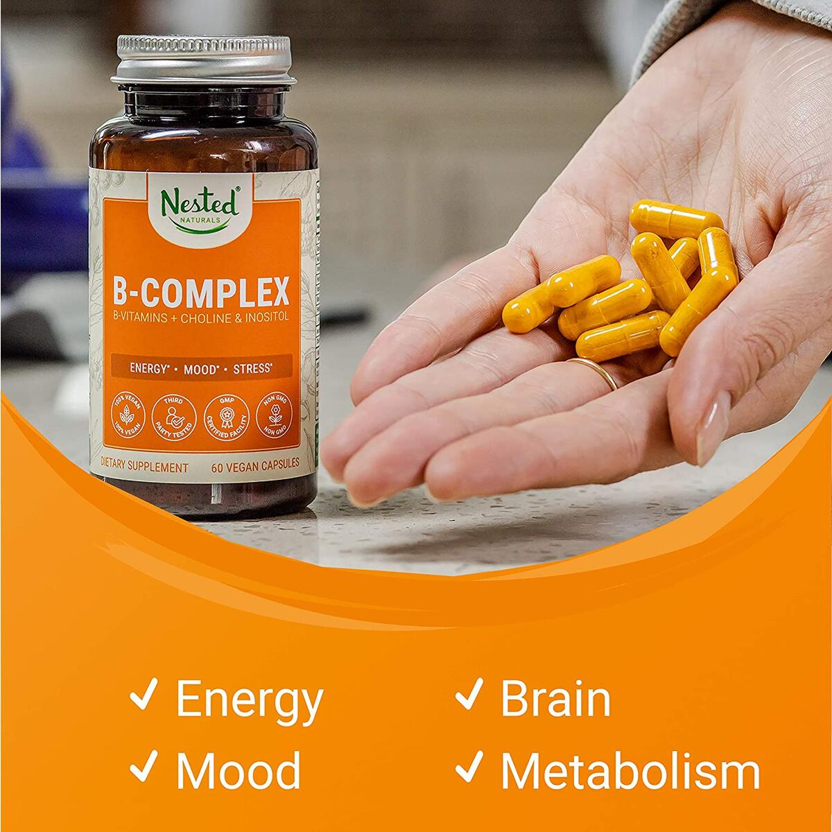 Nested Naturals Vegan B-Complex Vitamins Plus Choline & Inositol | Energy, Immunity & Metabolism Booster