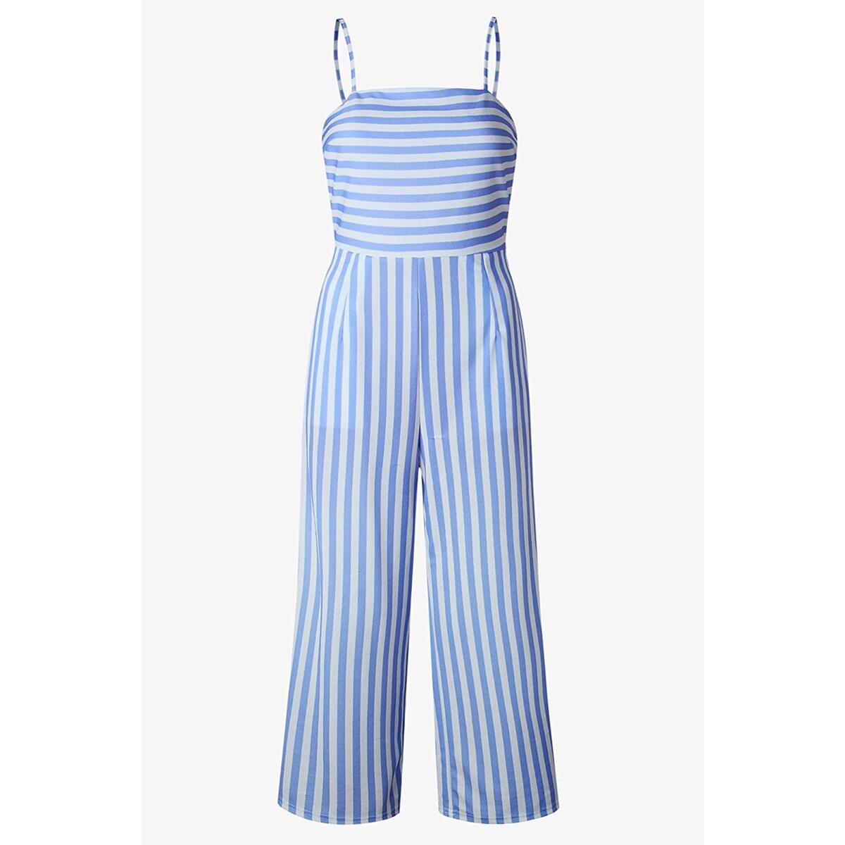 Alelly Women's Summer Jumpsuits Striped Tie Back Sleeveless Backless Wide Long Pants Rompers