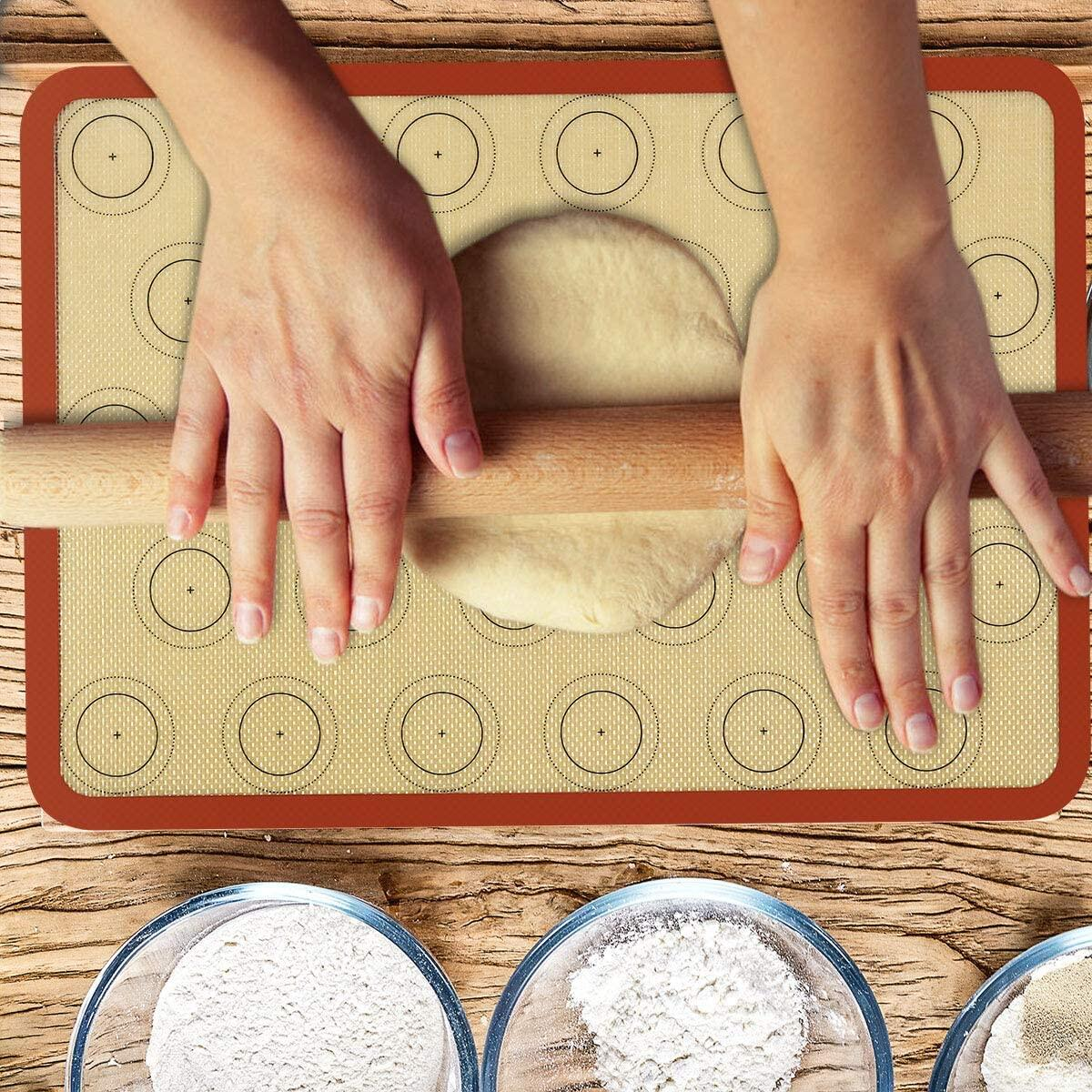 Macaron Silicone Baking Mat Non-Stick Silicon Macaroon Baking Half Sheet Perfect Baking Pad Cookie Kit for for Macarons, Cake, Bread and Pastry Making (Set of 2) by Sunrich