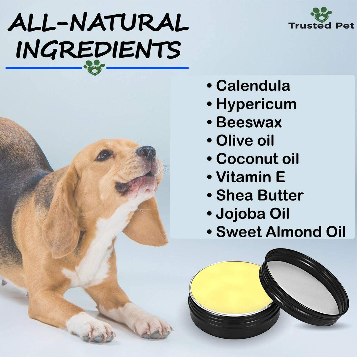 Trusted pet Paw Balm - 100% Natural Paw Soother for Dogs and Cats - Paw Pad Moisturizer, Nose Balm, Dog Elbow Protector with Beeswax, Vitamin E, Coconut Oil - 2 oz