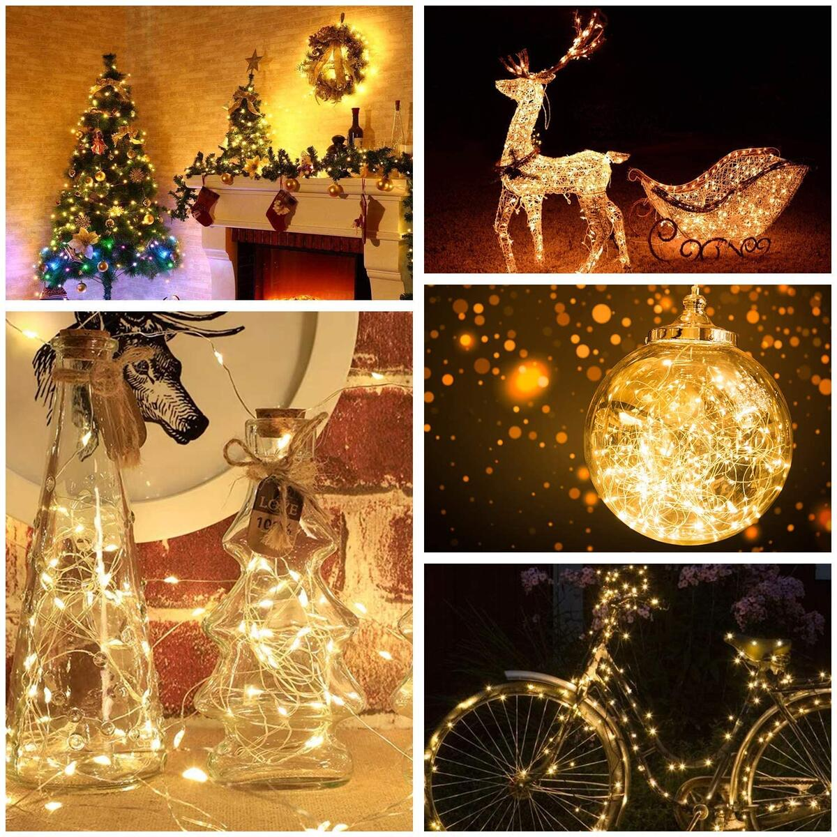 Axwcon LED Fairy Lights - 16.4FT/50LED USB Operated String Lights Christmas Decorations Bedroom Curtain Party Home Wedding Garden Outdoor Indoor Wall (Warm White)