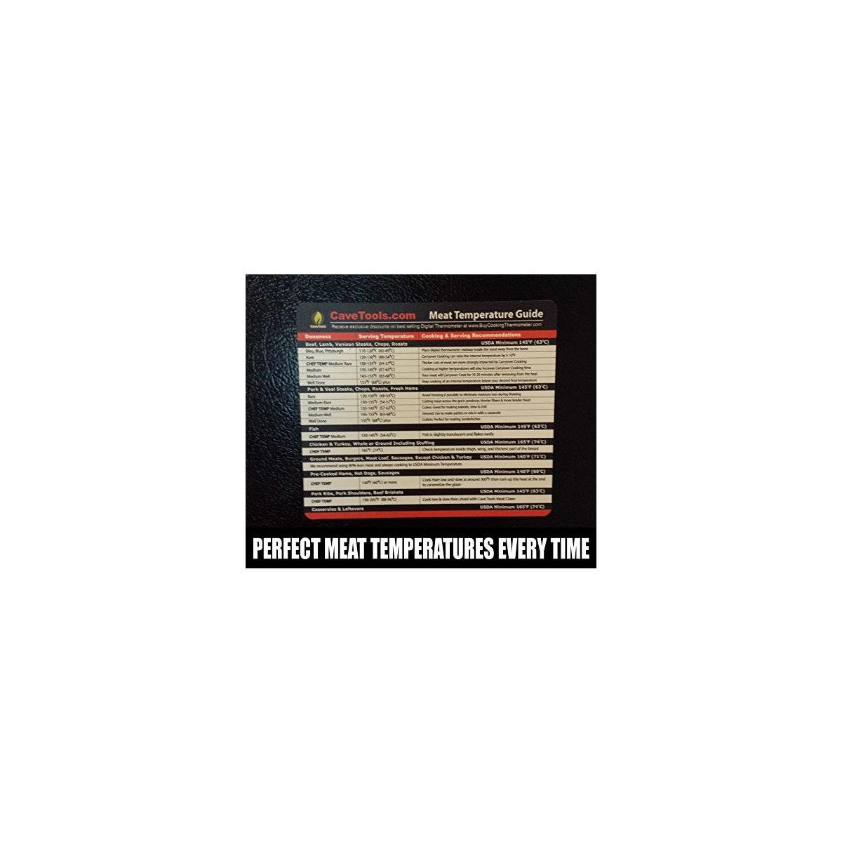 Meat Smoking Magnet (lg)+ Internal Temperature Chart (lg)- Temp Guide Include All Food for Kitchen Cooking & F to C Conversion - Use Digital Thermometer to Check Temperatures of Chicken Steak Turkey