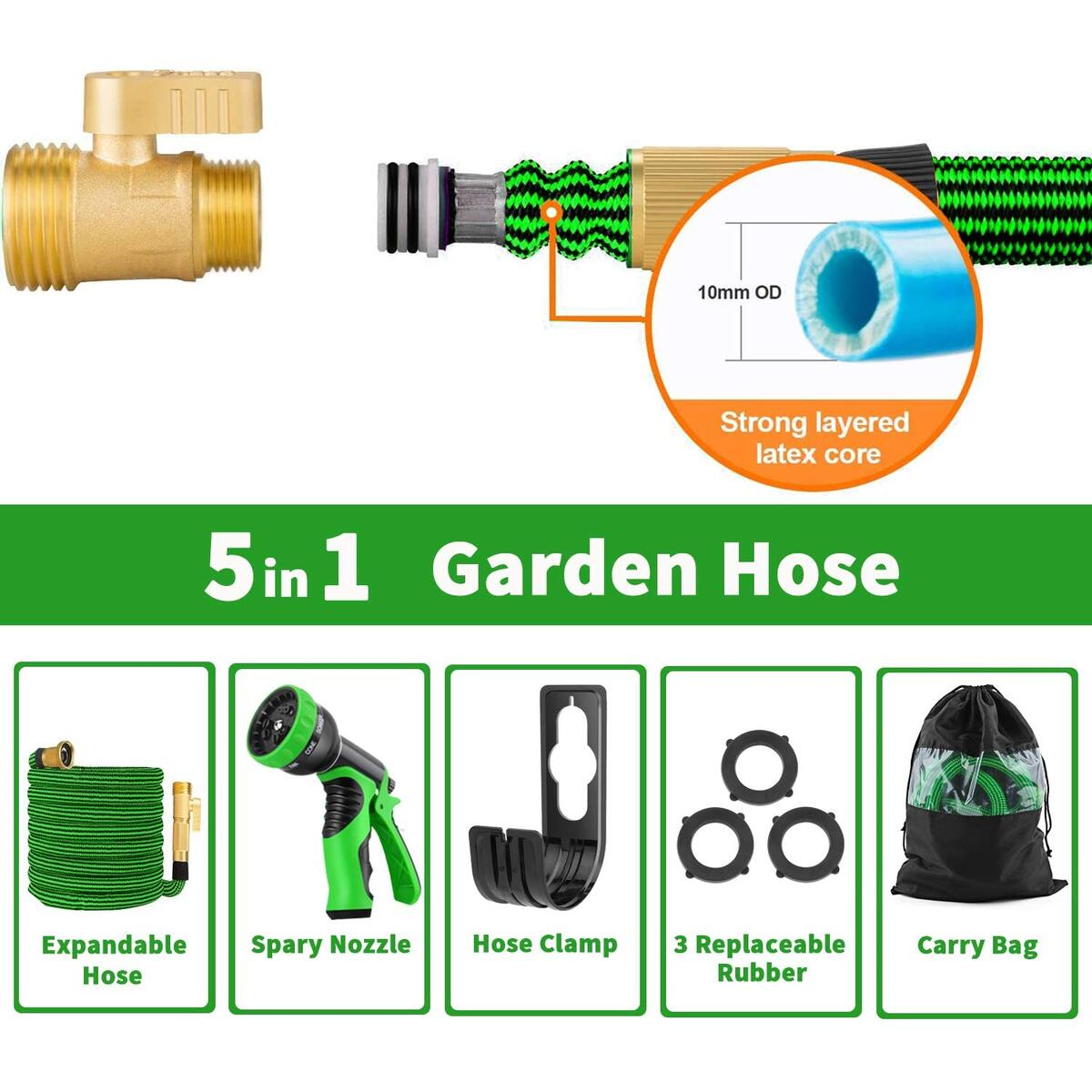 Sunrich Expandable Garden Hose 50ft Expanding flexible Water Hose retractable with 9 Function Spray Nozzle Lightweight Durable 3750D Latex Core 3/4