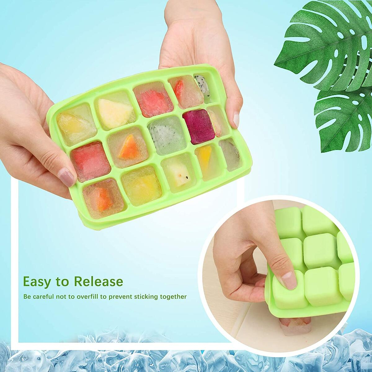 【40% CODE+10% COUPON】Ice Cube Trays - UTAKE 15-Ice Trays Easy-Release and Flexible with Removable Lid Ice Cube Molds Silicone for Whiskey, Cocktail, BPA free, Durable Stackable Ice Cube Tray 2 Pack Green