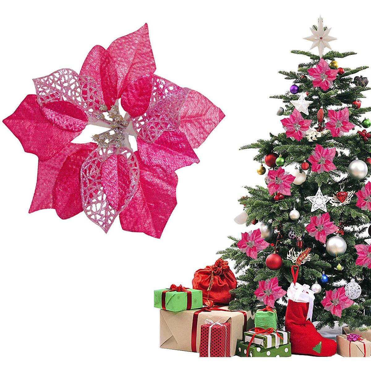 TopLAD(Pack of 12 Christmas Glitter Poinsettia Artificial Flowers Christmas Tree Ornaments Decorations (Rose Red)
