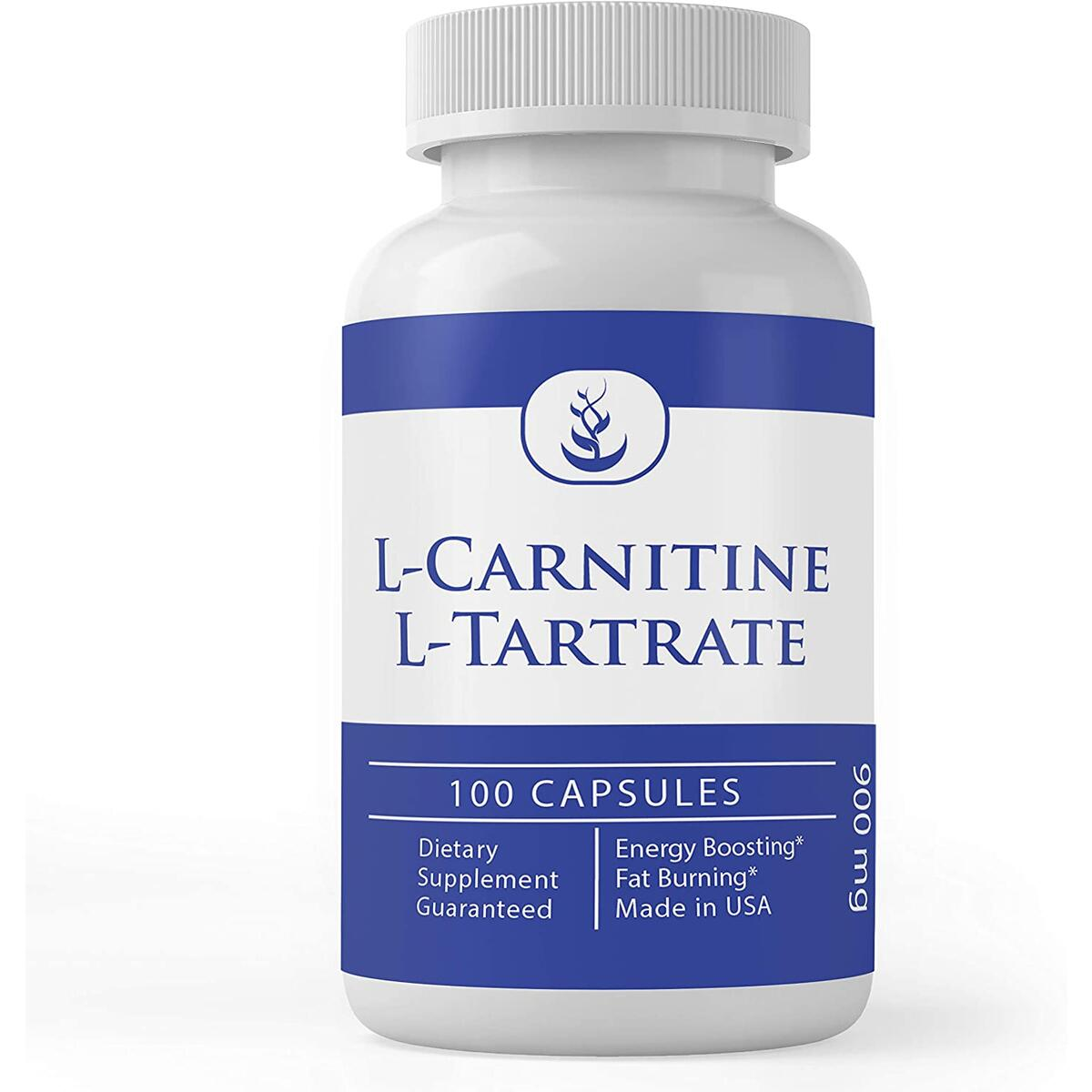 L-Carnitine Tartrate, 100 Capsules, 900 mg Serving, No Magnesium or Rice Fillers, No Additives, Gluten-Free, Potent, Undiluted, High Quality, Made in The USA