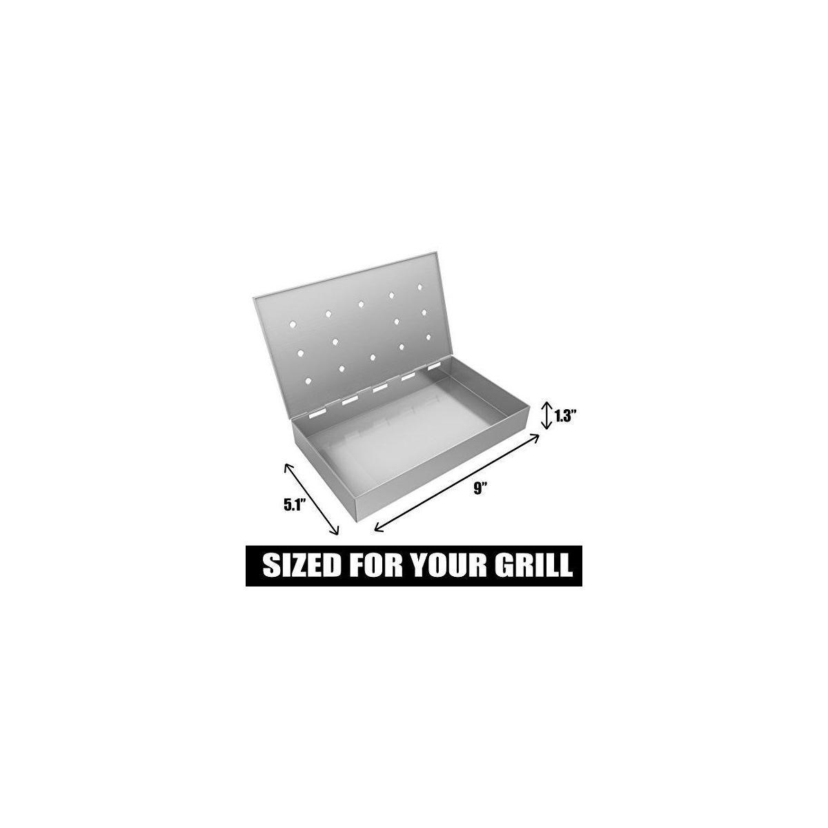 Burger Press + Smoker Box Maximum Wood Chip Capacity - 25% Thicker Stainless Steel Won't WARP - Charcoal & Gas Grill BBQ Meat Smoking Hinged Lid - Best Grilling Accessories Barbecue Utensils for Dad