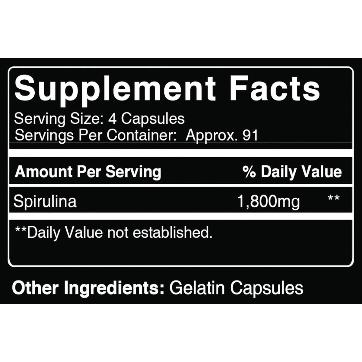 Pure Natural Spirulina, 365 Capsules, 3 Month Supply, No Magnesium or Rice Fillers, Made in The USA, Non-GMO Superfood, High Quality & Gluten-Free, 1800mg with No Additives
