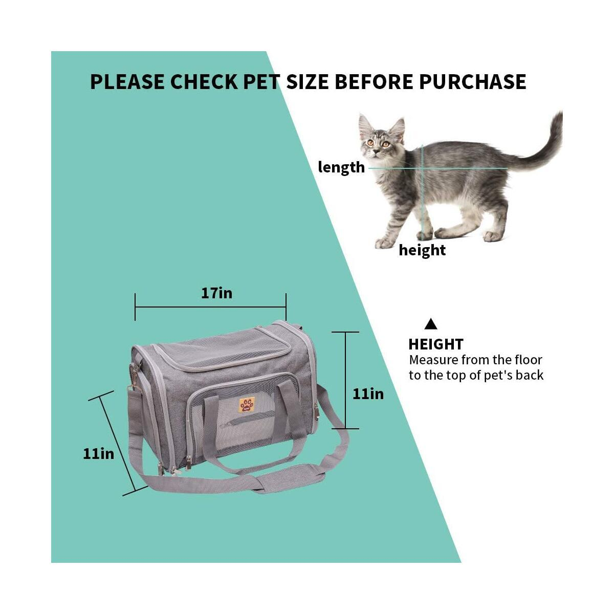 Happy Paws: Pet Bag for Dogs and Cats, Carrier for Small and Medium Dogs and Cats, Airline Approved Dog Carrier for Travel, Top Loading Cat Carrier Bag, Soft Pet Travel Carrier