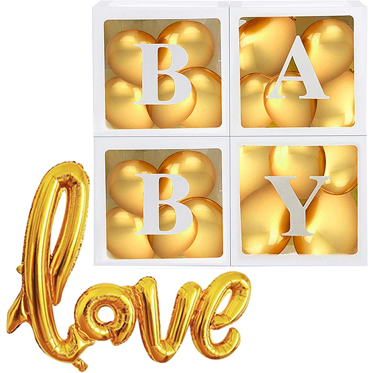 37 Pcs Gender Neutral Baby Shower Decorations Kit, Clear Baby Boxes with Letters for Baby Shower, Gender Reveal Décor, Gender Reveal Boxes for Balloons, Gold Baby Shower Party Supplies