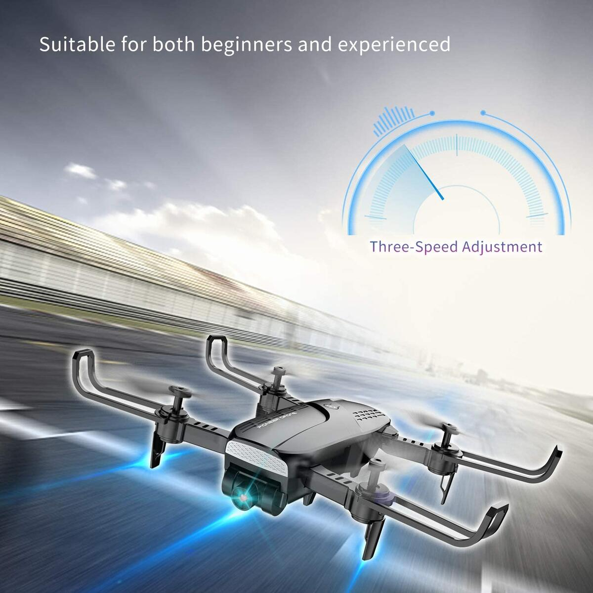 [50% OFF with 5% Coupon] Drones with Camera for Adults 720P HD - Foldable FPV WiFi RC Quadcopter, 120° Wide-Angle Live Video Camera, Altitude Hold, Easy to Fly for Beginners, 2 Batteries