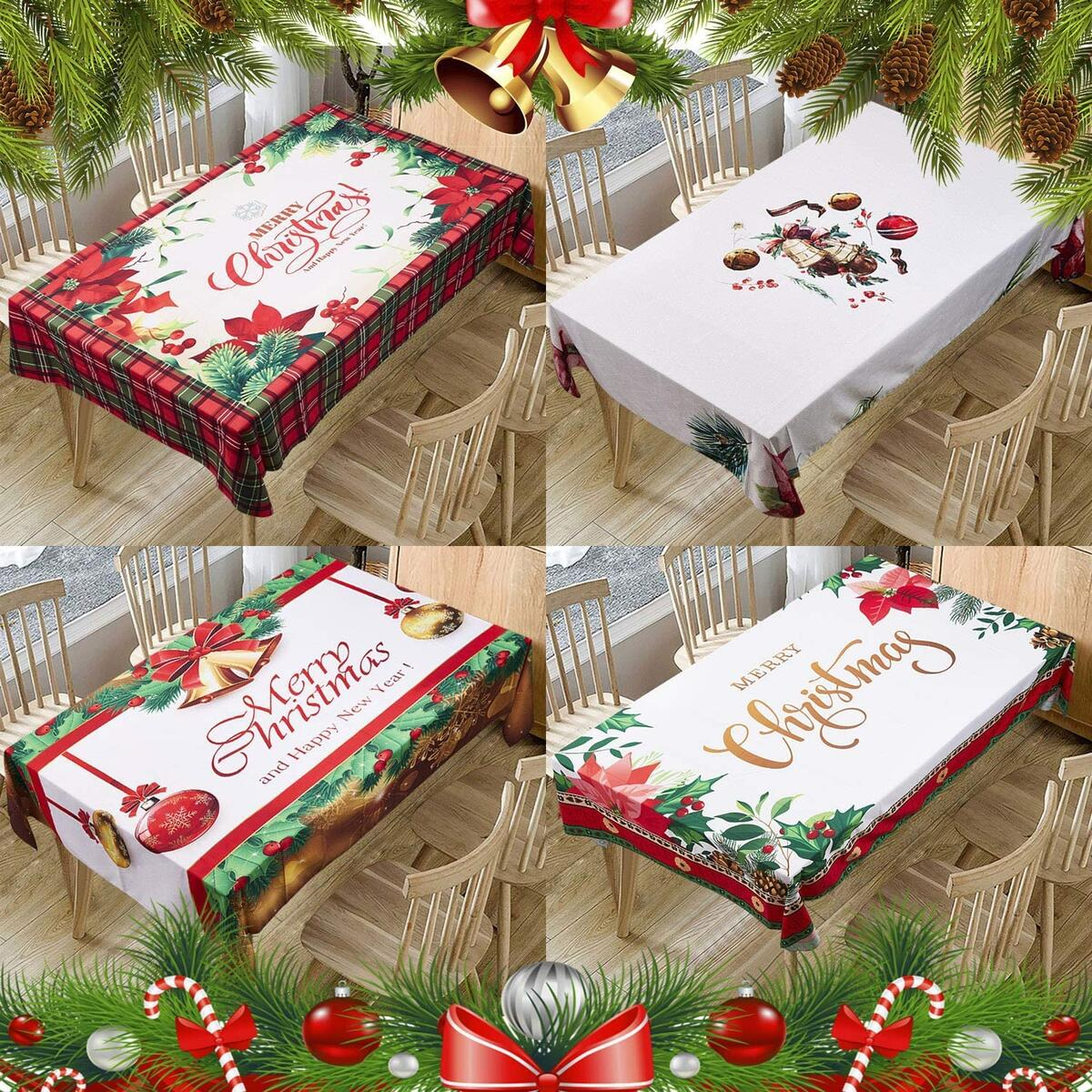 Christmas Printed Fabric Tablecloth,Oil-Proof and Waterproof Rectangle Table Cloth, Durable and Decorative Table Cover for Christmas and Thanksgiving