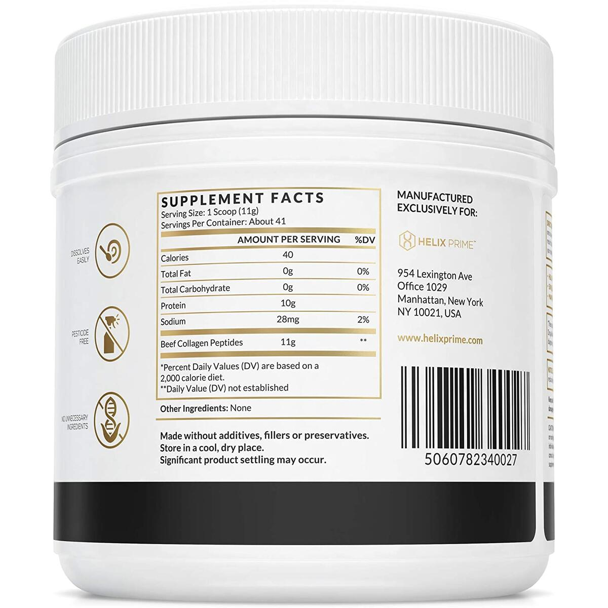 Collagen Peptides Powder Unflavored 1LB Jar 16OZ Grass Fed Pasture Raised Bovine Collagen for Beauty, Skin, Nails, Hair with 18 Amino Acids for Hot or Cold Beverages & Smoothies NO Additives
