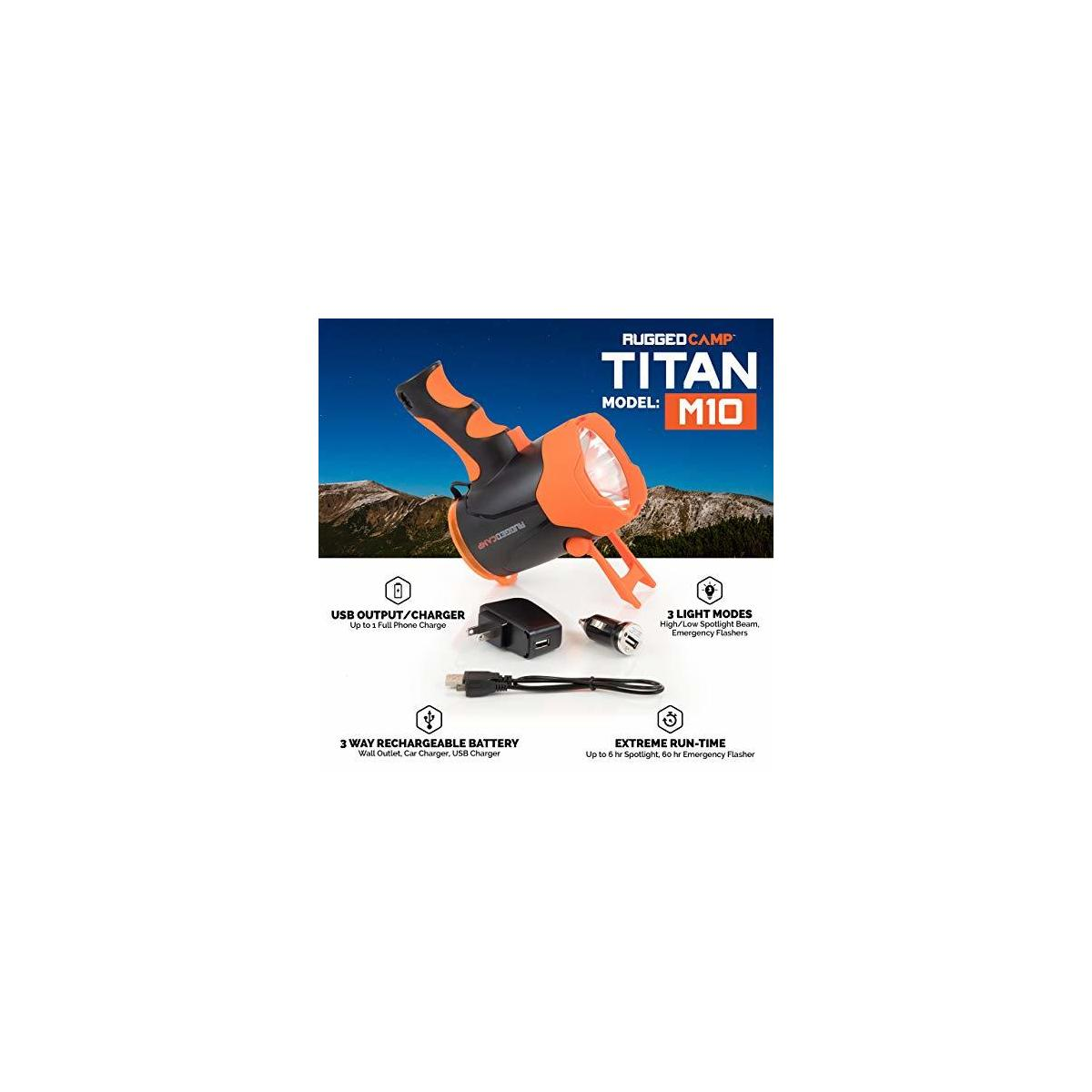 TITAN M10 Rechargeable Spotlight 10W LED - High Powered Spot Light - Built In Stand & Phone Charger - Perfect For Camping, Hiking, Emergencies & Outdoors - Charging Cables