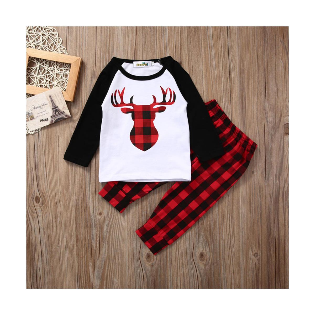 Newborn Baby Boys Girls Deer Plaid T-Shirt Top Plaid Cotton Pants Outfit