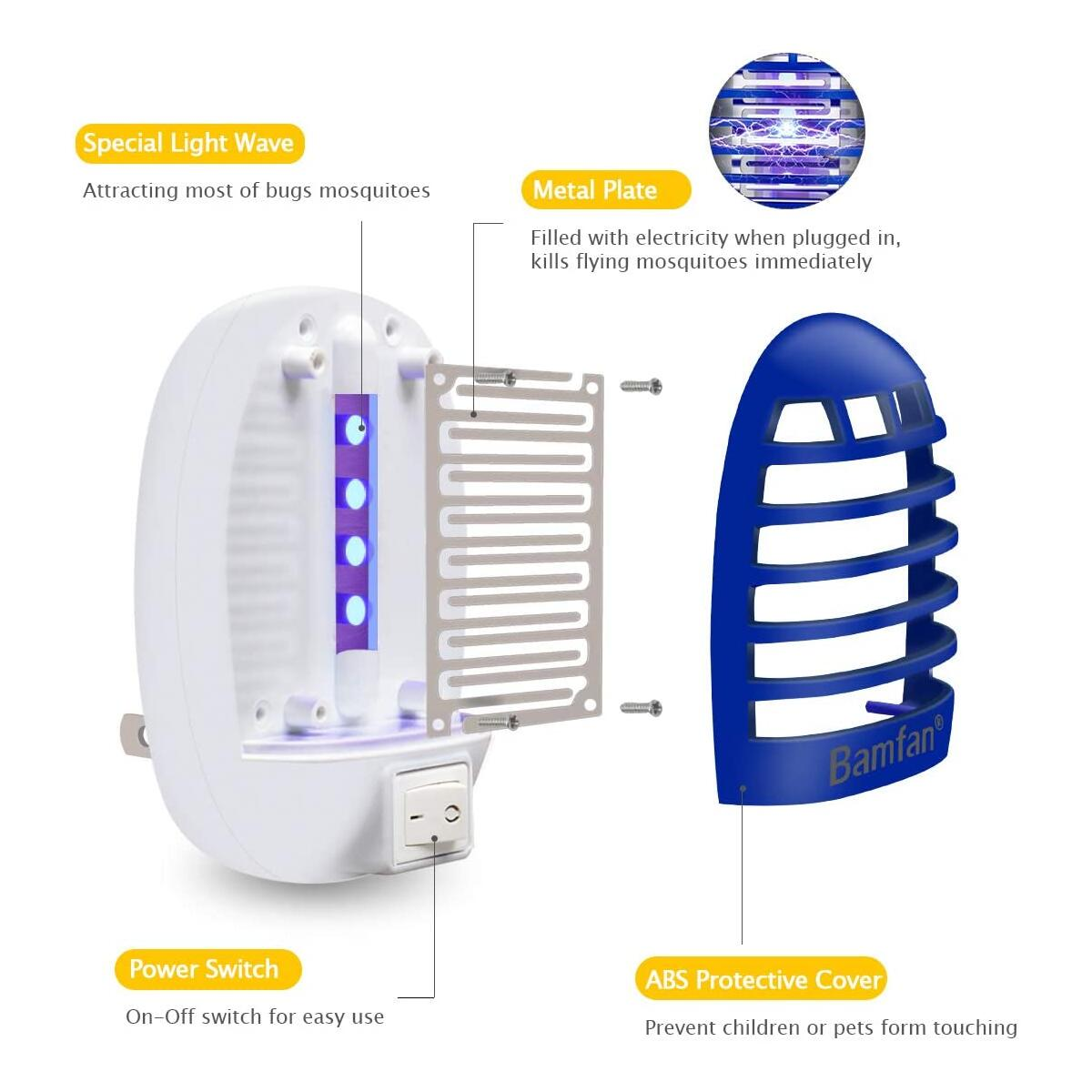 Bug Zapper Mosquito Trap - 2 Pack Indoor Plug-in Fly Trap Mosquito Zapper Electric Insect Killer with UV LED Light Removes Flies Gnats Moth and Bugs for Home